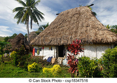 Traditional house of Navala village, Viti Levu island, Fiji