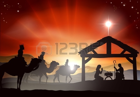 21636548-christmas-nativity-scene-with-baby-jesus-in-the-manger-in-silhouette-three-wise-men-or-kings-and-sta