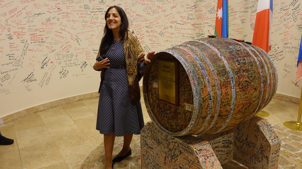 The only place in the Republic of Armenia where you will see an Azeri flag - The barrel of Cognac will be opened when there is peace in Artsakh and peace between Armenia and Azerbaijan.